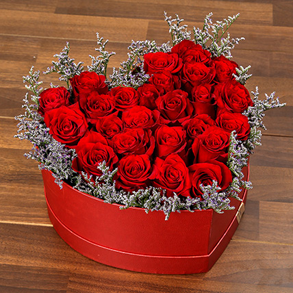 Red Roses In Heart Shape Box OM: Valentines Gifts Delivery in Oman