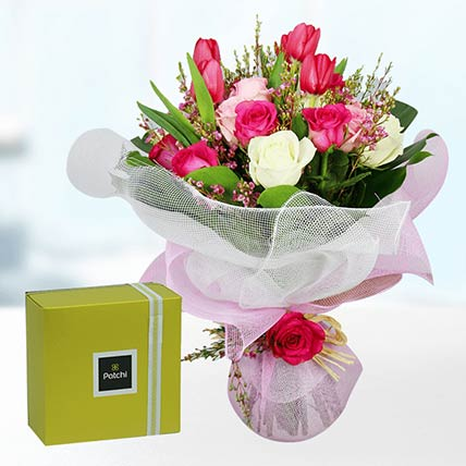 Tulips & Roses With Patchi Chocolates: