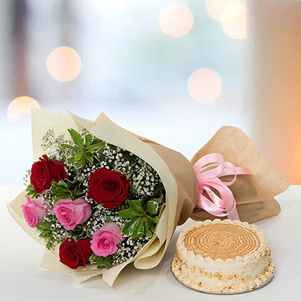 Delightful Roses Bouquet With Butterscotch Cake SA: Send Flowers to Saudi Arabia