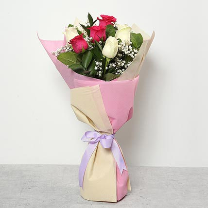 3 Pink And 3 White Roses Bouquet: