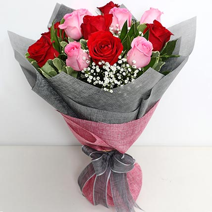 6 Pink And 6 Red Roses Bunch: Saudi Arabia Gift Delivery