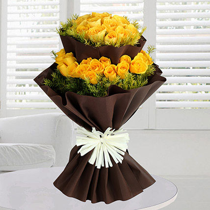 Double Layer 40 Yellow Roses Bunch: Send Gifts to Jeddah