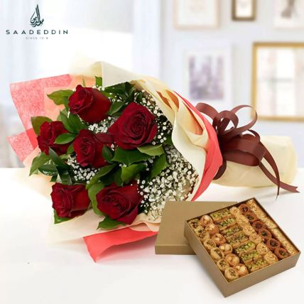 6 Red Roses With Baklawa Sweet: