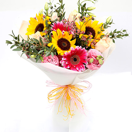 Harmonic Roses and Suflower Mixed Bouquet SG: Florist Singapore