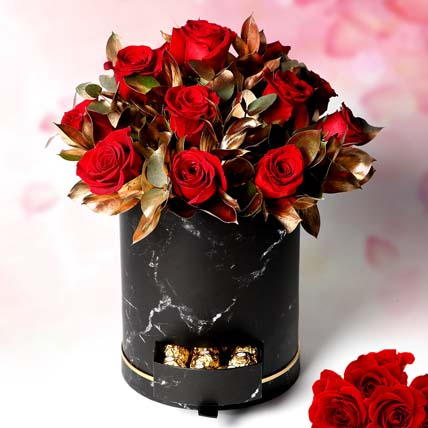 Golden moments with roses: