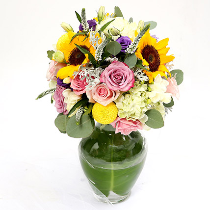 Vivid Roses and Sunflower Mixed Flower Vase SG: Florist Singapore