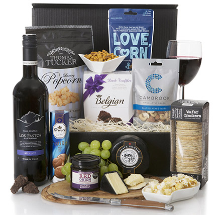 Wine And Snacks Hamper:  Gifts UK
