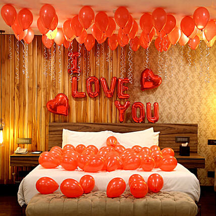 Romantic Red Themed Love You Balloon Decoration