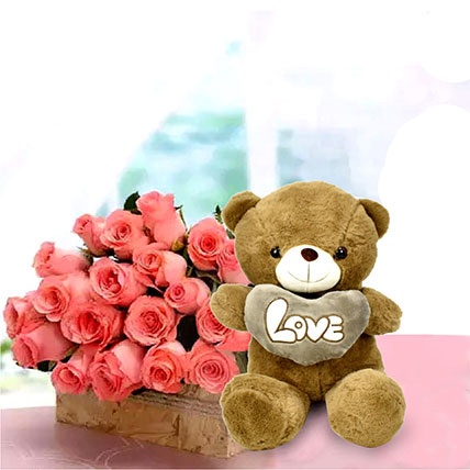 Rose day flowers and teddy