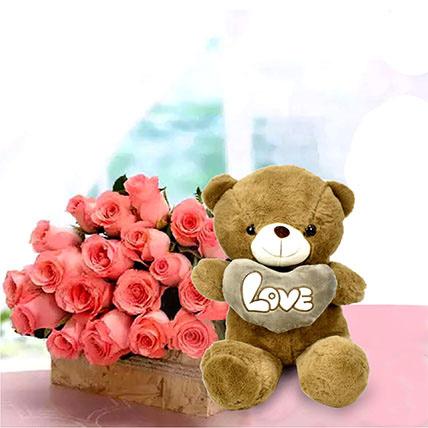 Teddy day flowers and teddy