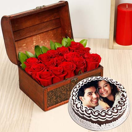 Red Roses & Chocolate Cake