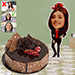 Personalised Woman Caricature with Fudge Cake