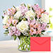 Pink and White Floral Bunch In Glass Vase With Greeting Card